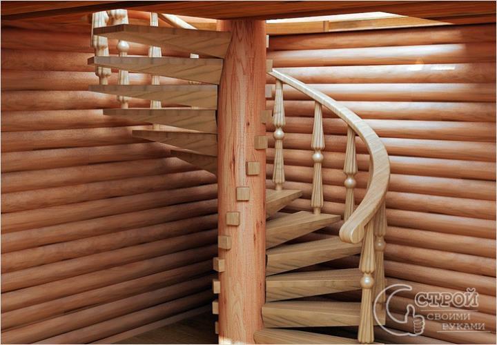 Необычная конструкция винтовой лестницы
