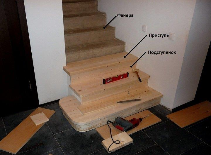 Отделка лестницы деревом своими руками