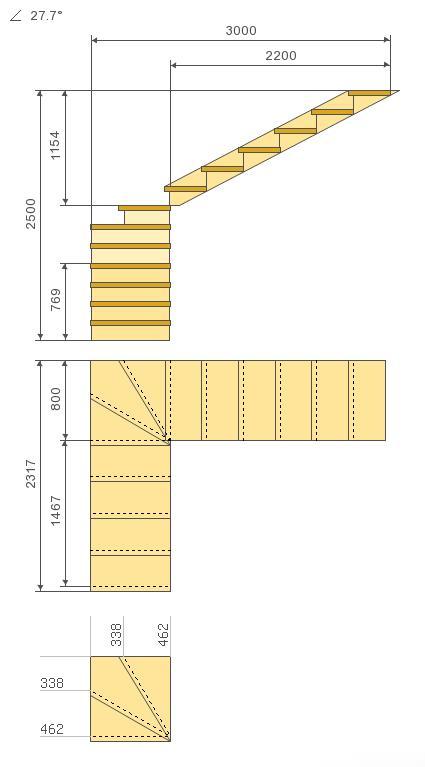 Общий чертеж лестницы