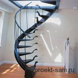 проект металлической винтовой лестницы в частном доме
