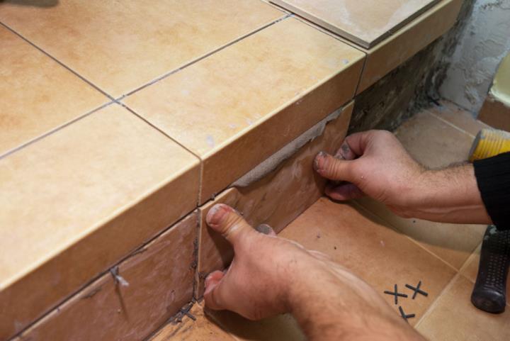 Облицовка бетонной лестницы плиткой