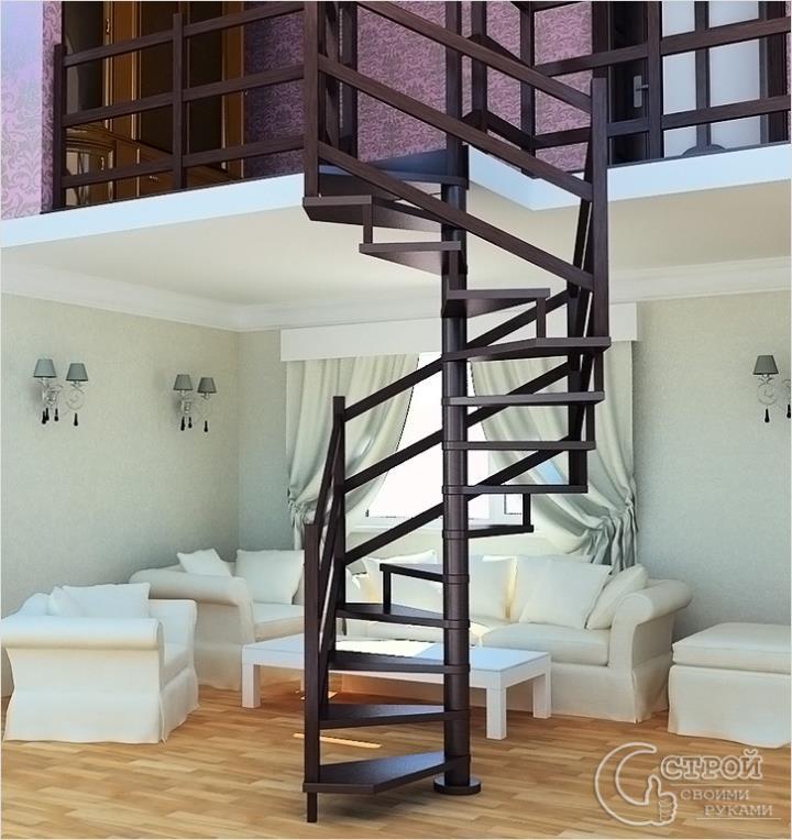Винтовая лестница с минимальным проемом