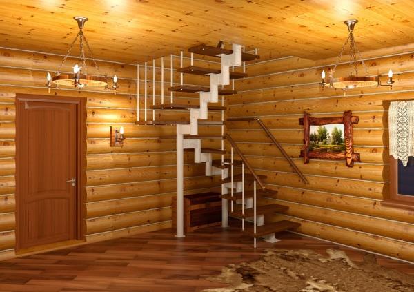 красивая лестница на даче