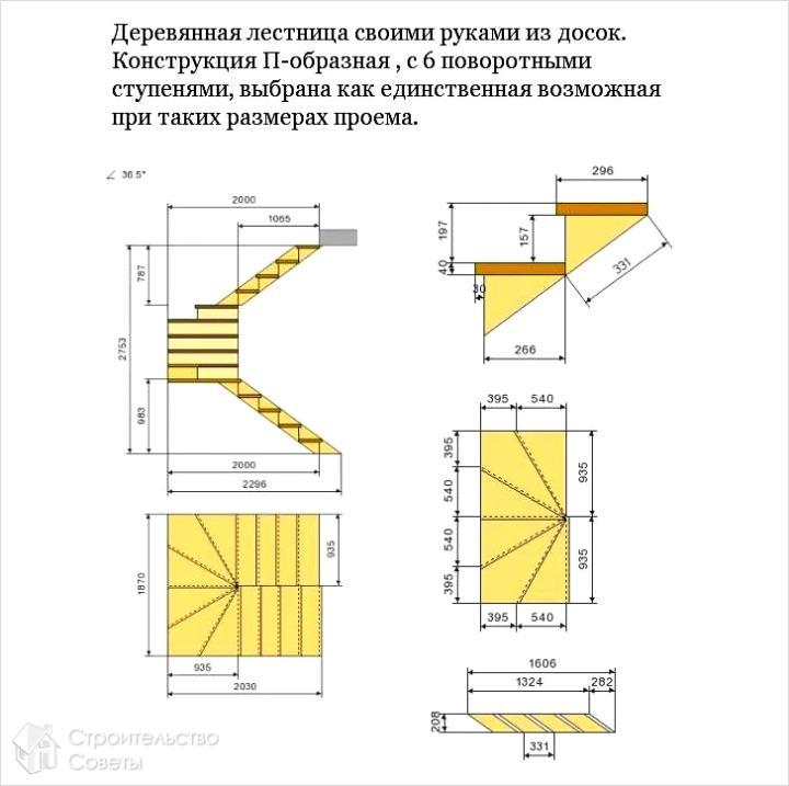 Схема шестиповоротной лестницы