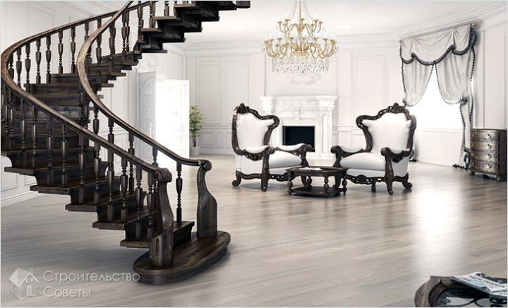 Шикарная деревянная лестница