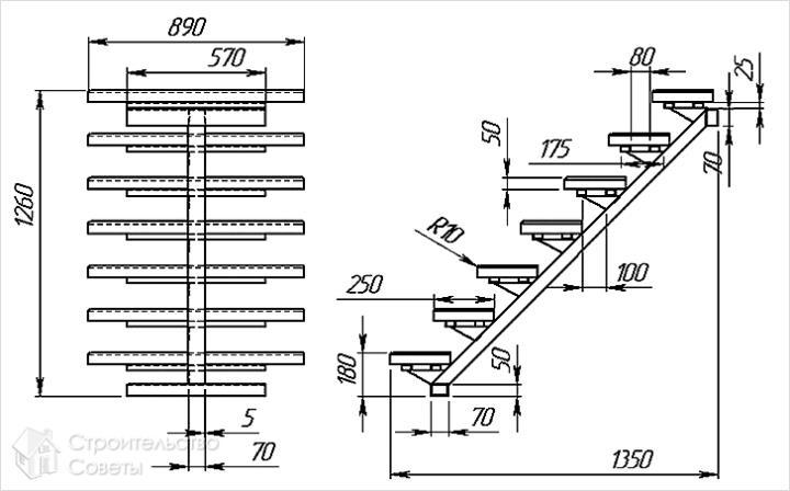Проект лестницы на одном косоуре