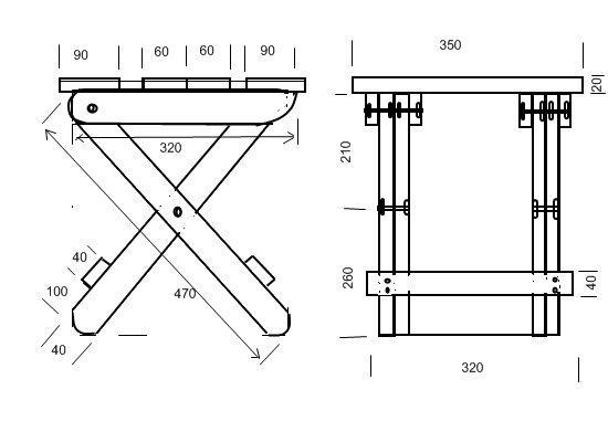 Схема складного стула без спинки