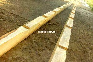 Делаем зазубрины на деревянной приставной лестнице