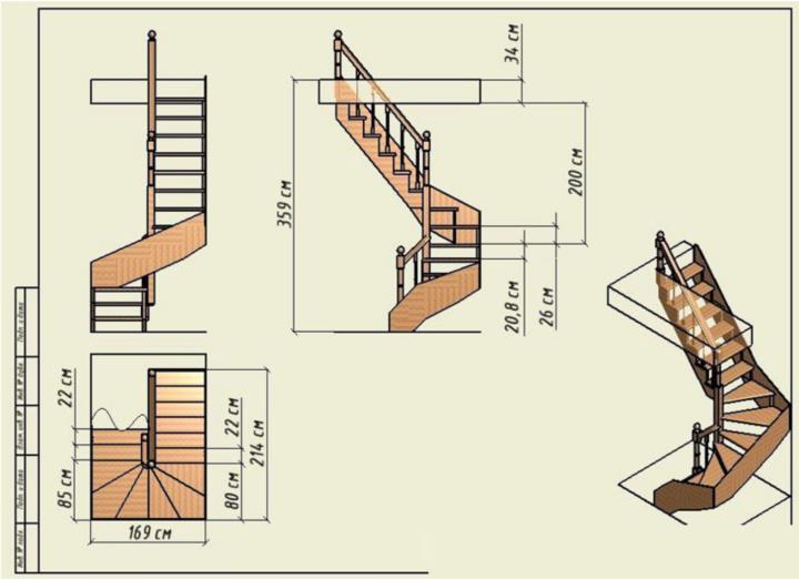 Чертежи винтовых деревянных лестниц