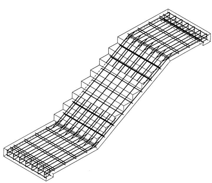 Арматурный каркас для двухмаршевой лестницы с площадкой