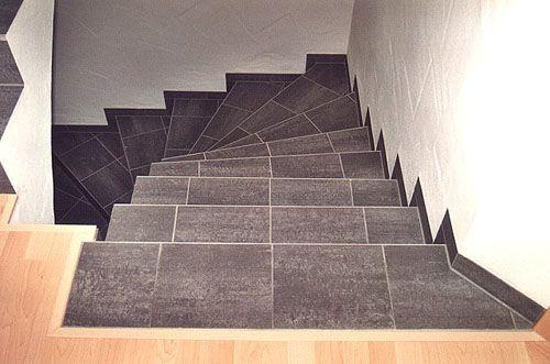 Пример отделки лестницы плиткой