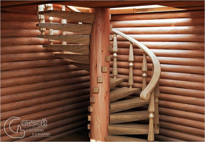 Винтовая лестница из дерева