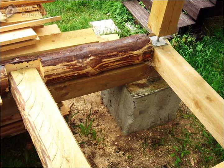Основание крыльца на столбчатом фундаменте