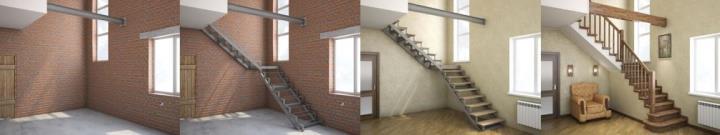 Металлический каркас лестницы под обшивку