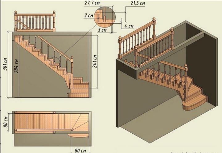 Расчет деревянной лестницы на второй этаж с поворотом на 90 градусов