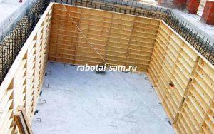 Опалубка стен бассейна из бетона
