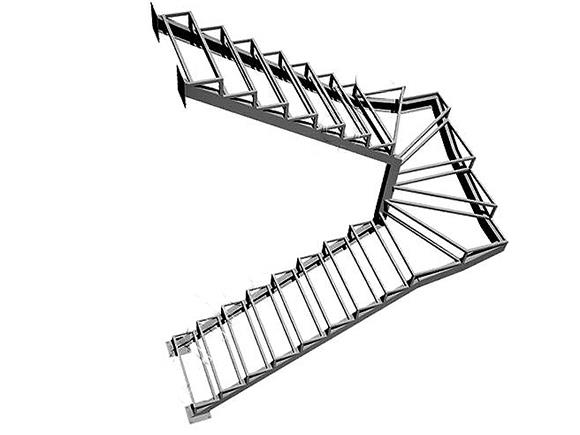 чертеж металлической опалубки для лестницы