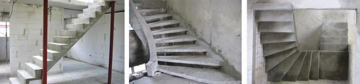 Бетонная лестница в загородном доме под ключ