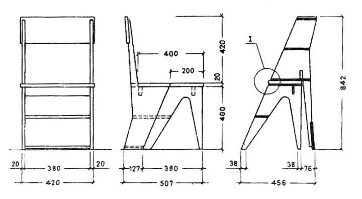 Чертеж стула-стремянки