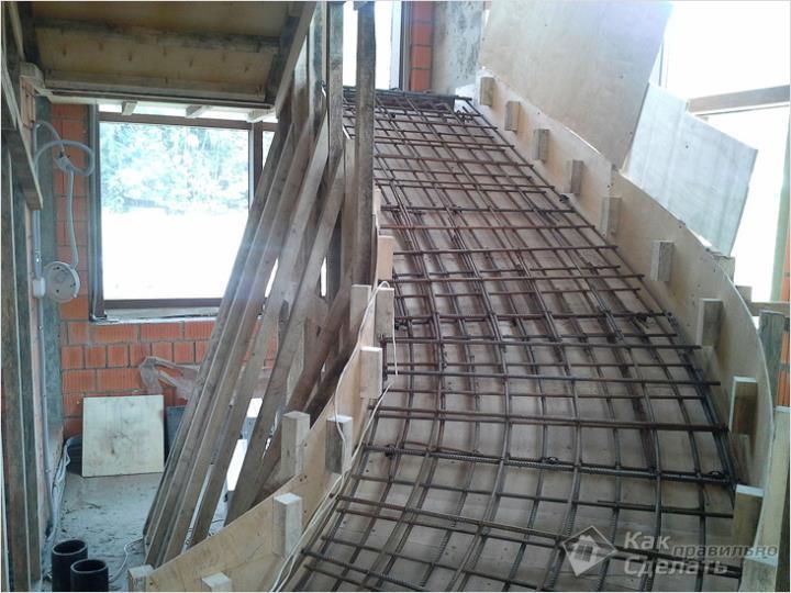 Арматурный каркас железобетонной лестницы