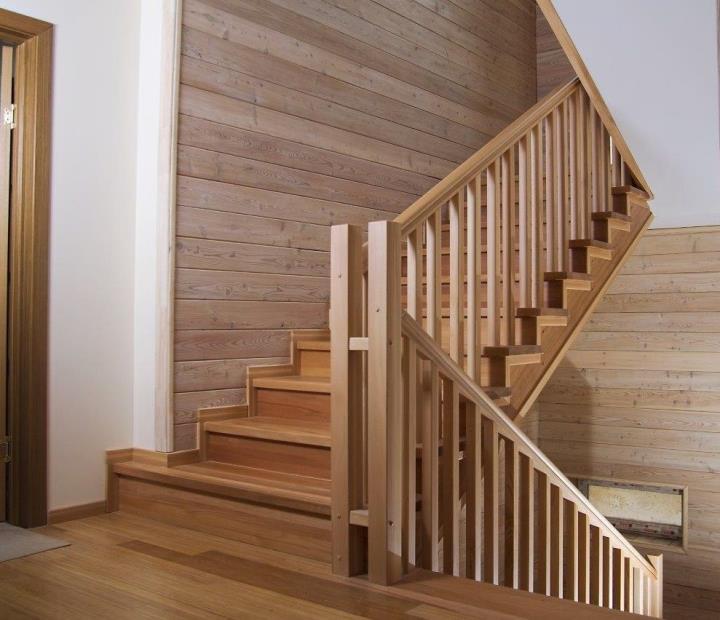 Облицовка и отделка бетонной лестницы деревом