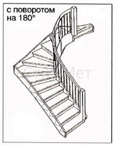 Маршевая оборотная лестница поворот на 180