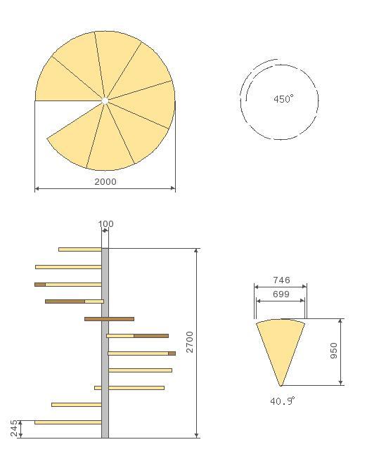 Общий чертеж винтовой лестницы